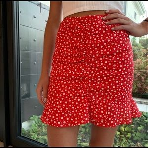 Red floral princess Polly mini skirt